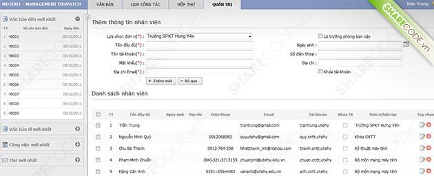 Website quản lý công văn, quản lý văn bản online, quản lý hồ sơ, quản lý xổ sách, web quản lý văn bản