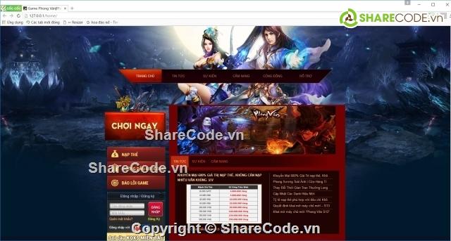 Full Code Webgame Phong Vân Vô Song H40 được Việt Hóa mới nhất, fix toàn bộ  lỗi, giao diện đẹp mắt  Hỗ trợ chức năng