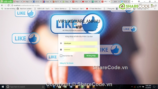 Share code Vip autolike , vip autocomments , vip autoshare facebook full  chức năng