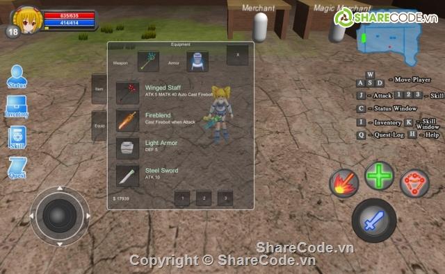 Source Code Game RPG mobile unity3D ( bộ code làm game RPG tốt nhất + Hỗ  trợ cả 2 code C# & JS )