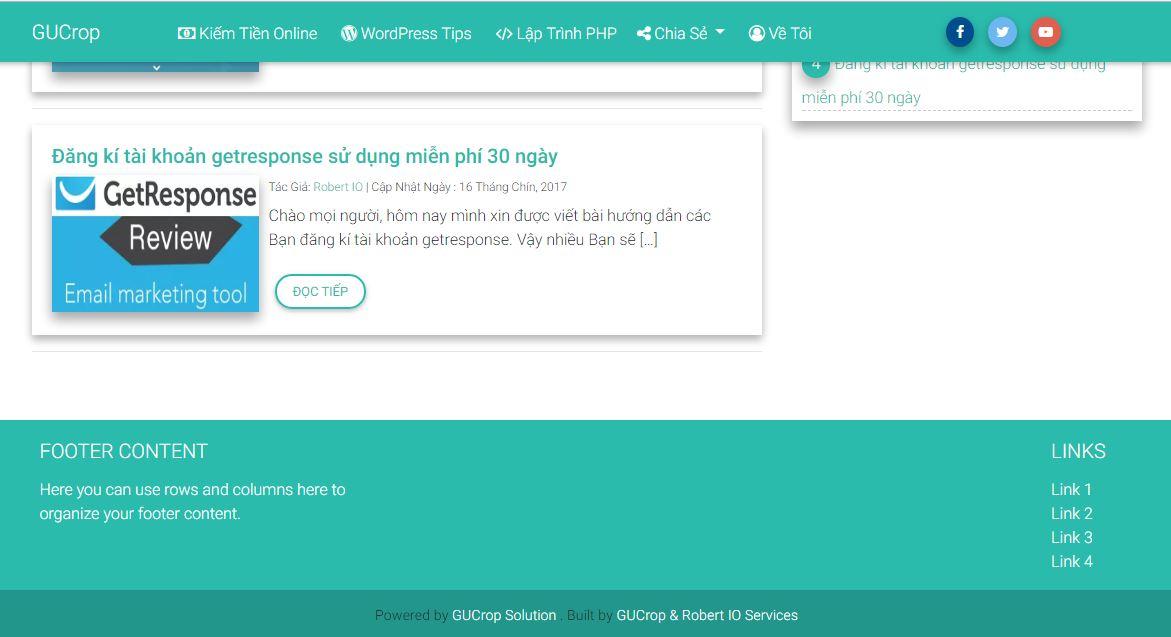 Template blog wordpress chuẩn html5, material design, bootstrap 4, Chuẩn seo