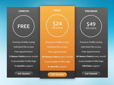 Tạo Pricing table, table ấn tượng với CSS3, pricing css3, css3, table css3